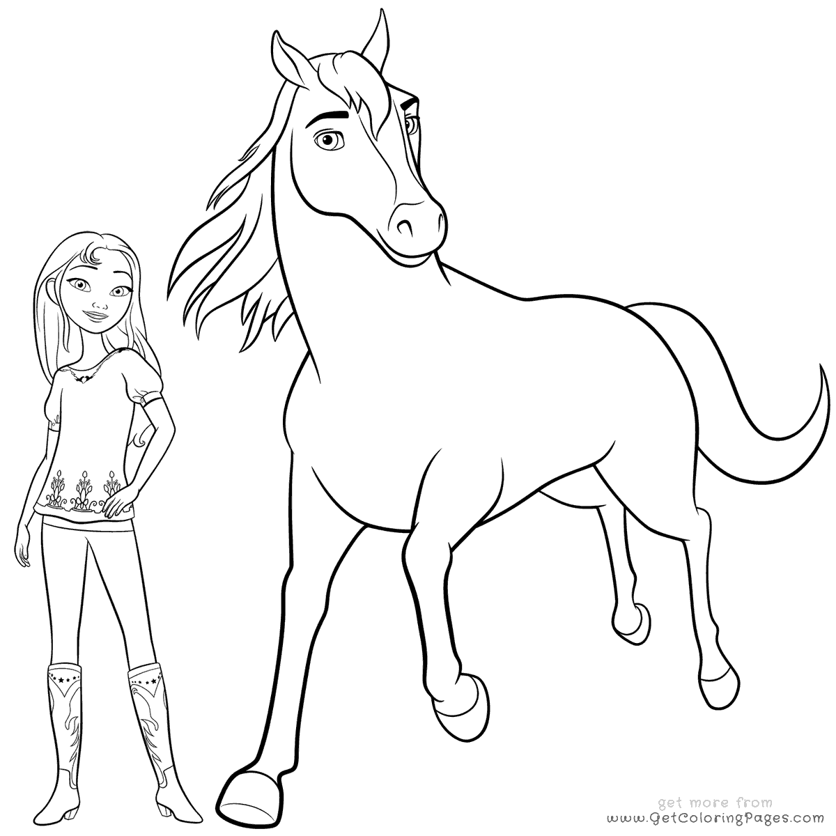 1200x1200 Girl And Horse Coloring Page
