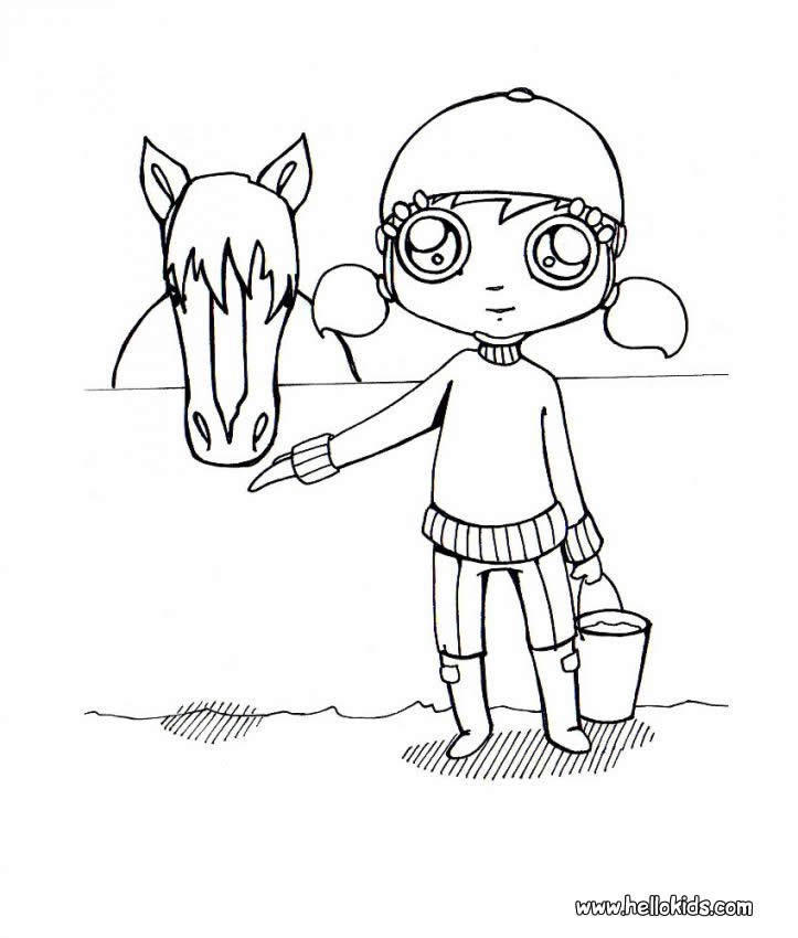 723x850 Girl And Horse Coloring Pages