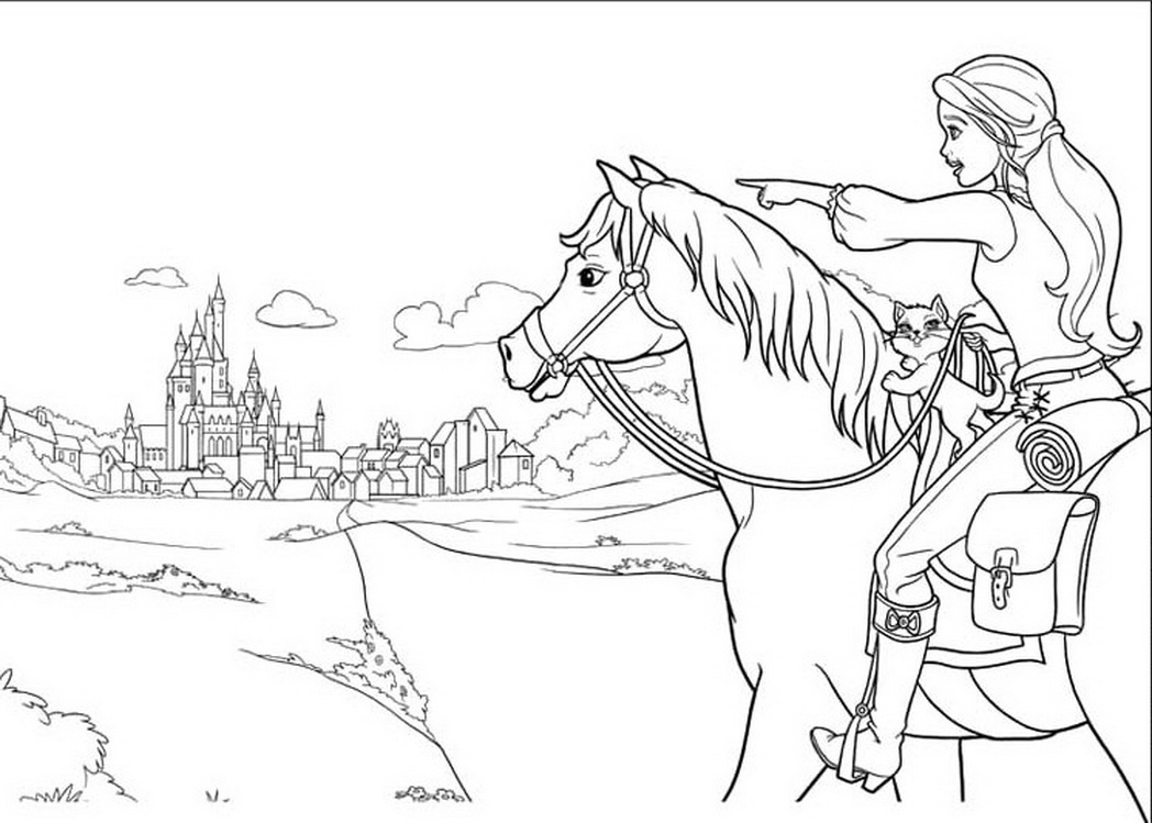 1048x749 Barbie And Horse Coloring Pages Download And Print For Free