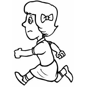 300x300 Running Girl With Bow Coloring Sheet