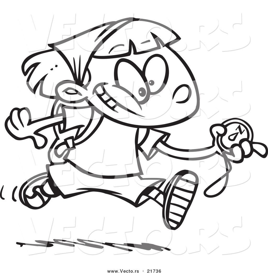 1024x1044 Vector Of A Cartoon Hiker Girl Running With A Compass