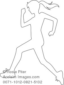 227x300 Clipart Image Of Black And White Coloring Page Of A Girl Running