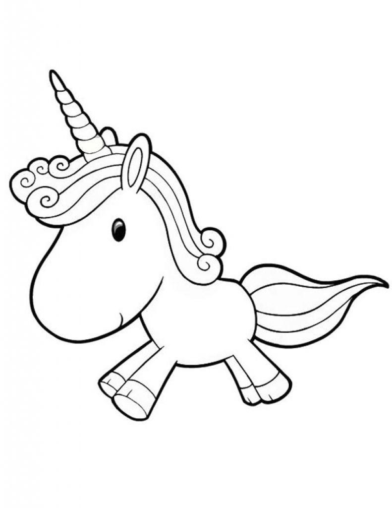 791x1024 Cute Baby Unicorn Running Free Coloring Page For Preschoolers