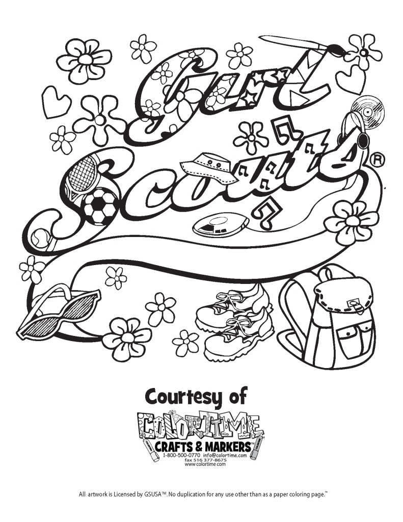 791x1024 Girl Scouts Coloring Pages Collection
