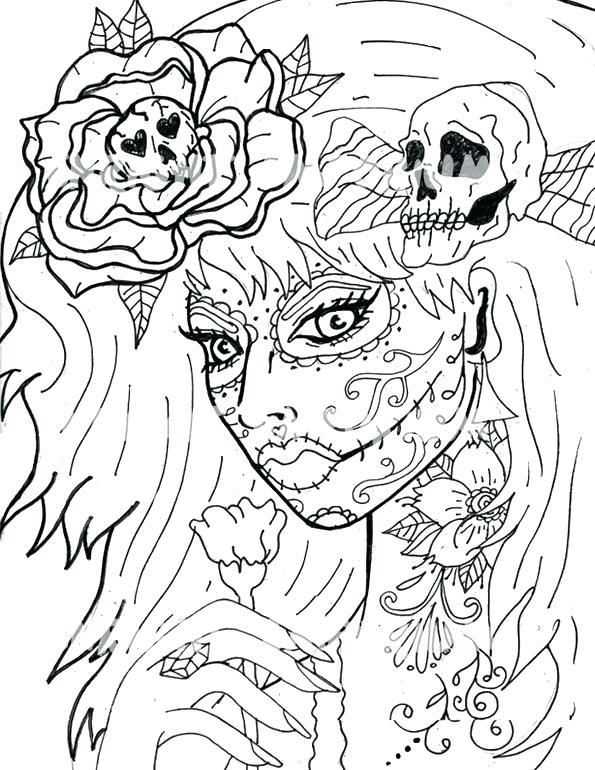 595x770 Coloring Pages Sugar Skulls Sugar Skulls Coloring Pages Sugar