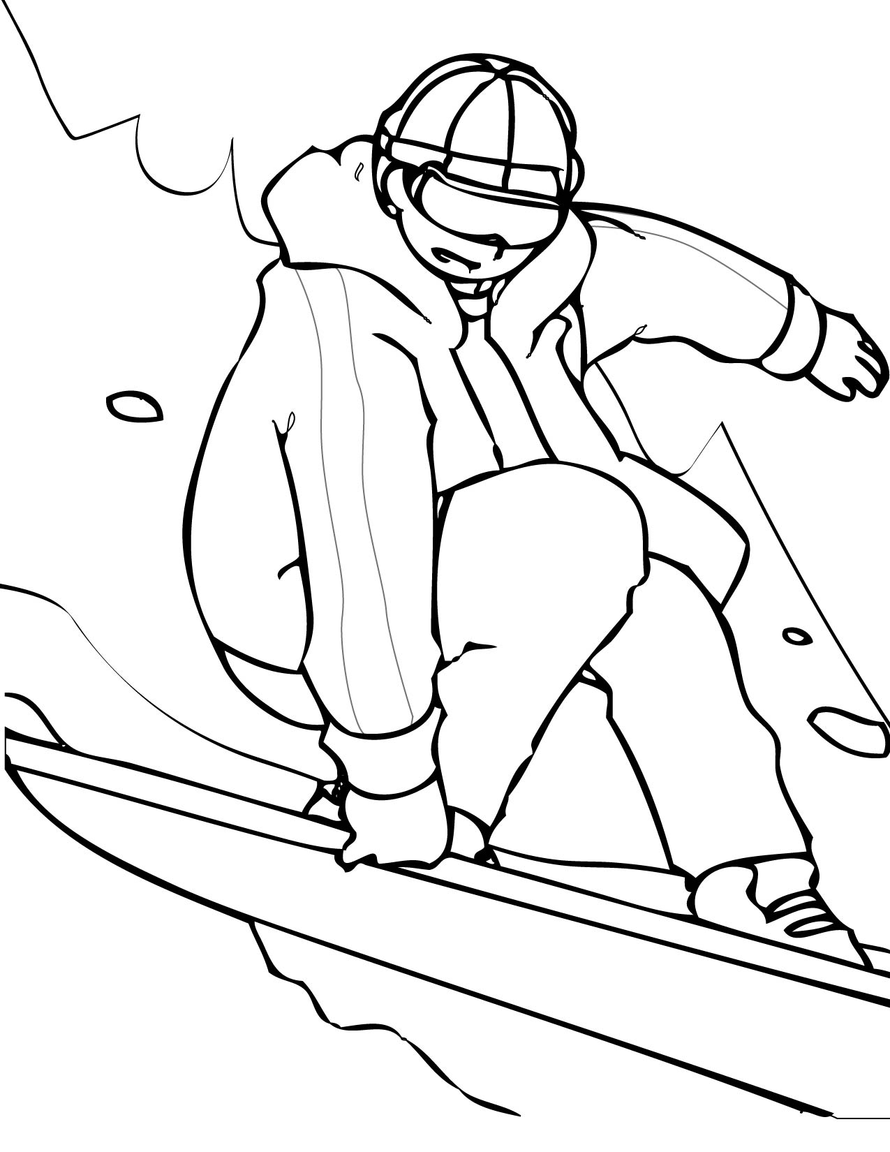 1275x1650 Girl On Sled Boy Skiing Coloring Page Sport And Pages