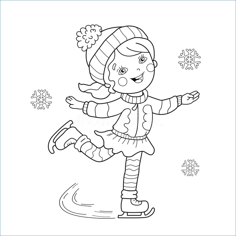 800x800 Girl Skating Winter Coloring Pages