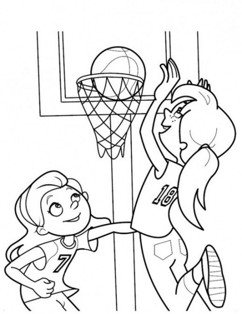 790x1024 Girls Playing Basketball Coloring Page Sports Coloring Pages