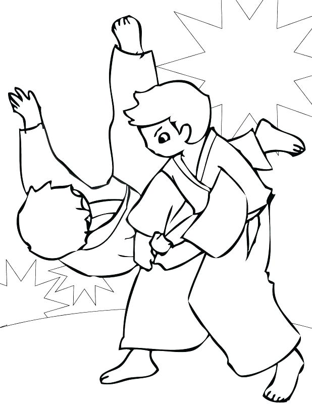 618x800 Outstanding Cartoon Girl Coloring Pages Karate Coloring Page