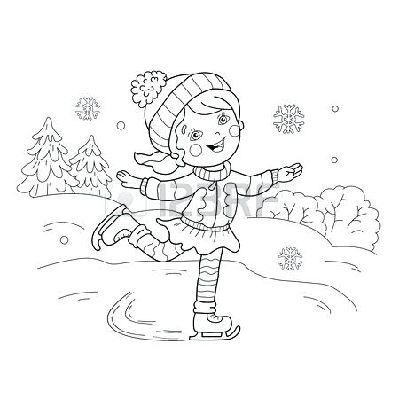 450x450 Sports Coloring Page Coloring Page Outline Of Girl Skating Winter