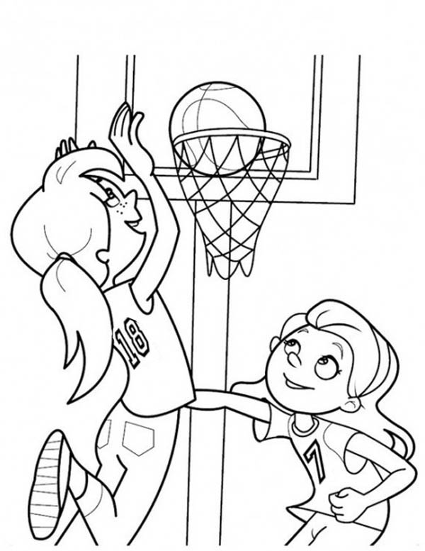 600x777 Basketball Court Coloring Pages