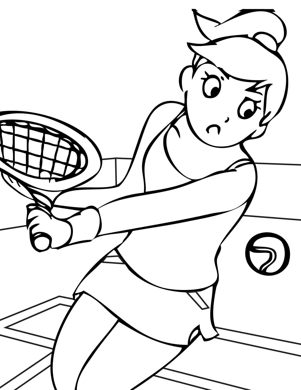 1275x1650 Sports Girl Playing Tennis Free Coloring Page Kids, Sports