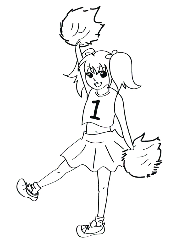 595x842 Cheerleader Girl Coloring Pages Ready To Print