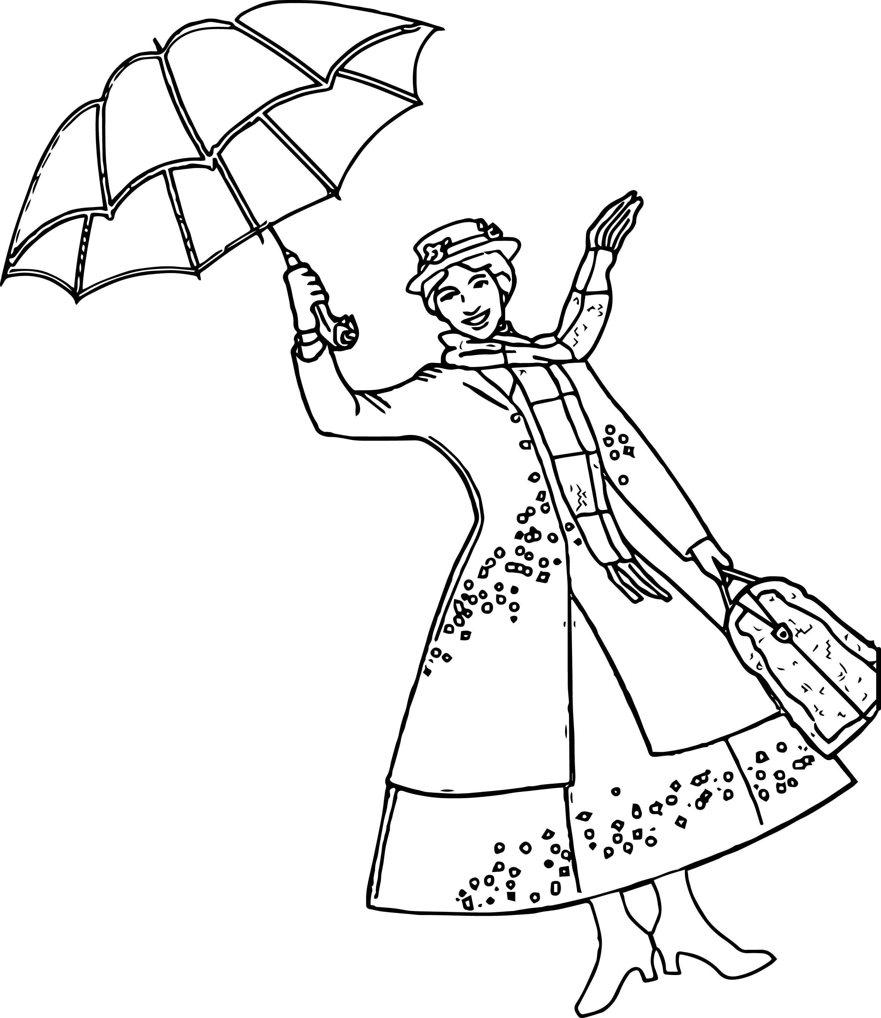 2934x3389 Coloring Pages Of Umbrella Best Mary Poppins Girl Within