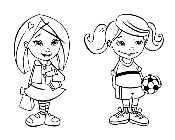 587x470 Girl Standing Coloring Page