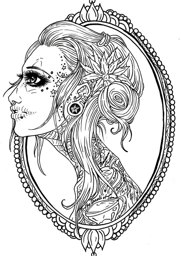 Girl Sugar Skull Coloring Pages