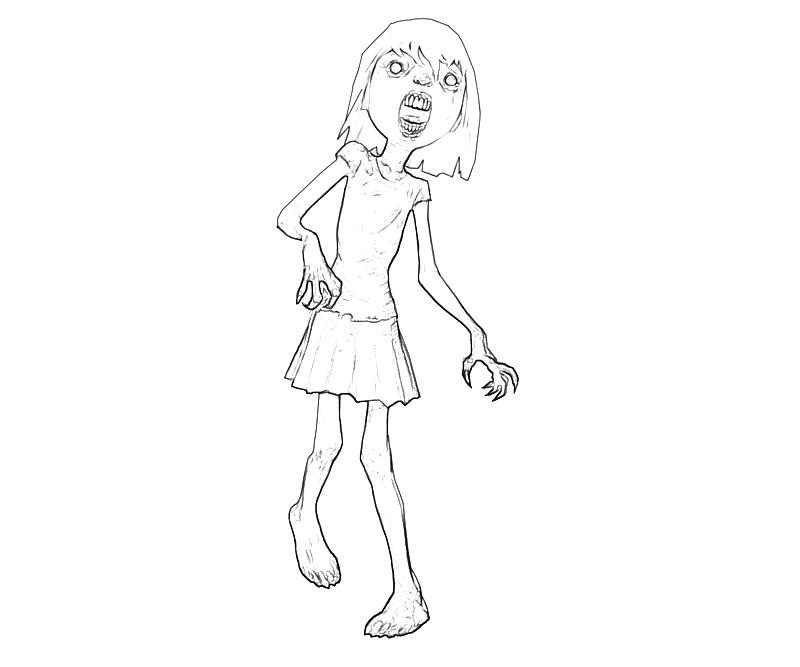 Girl Zombie Coloring Pages