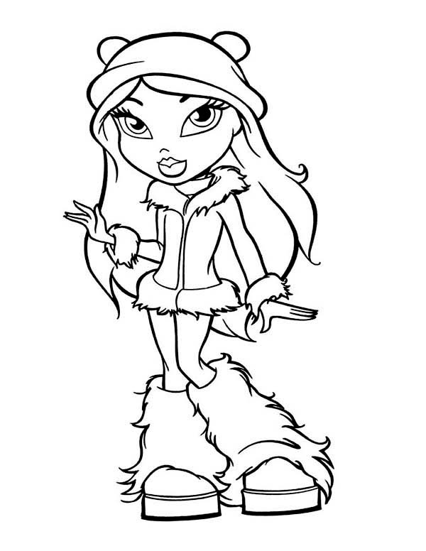 600x776 Fancy Teen Girl In Winter Season Outfit Coloring Page