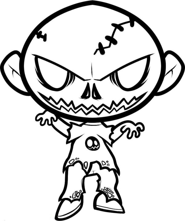 600x718 Scary Zombie Coloring Pages Scary Coloring Pages For Kids