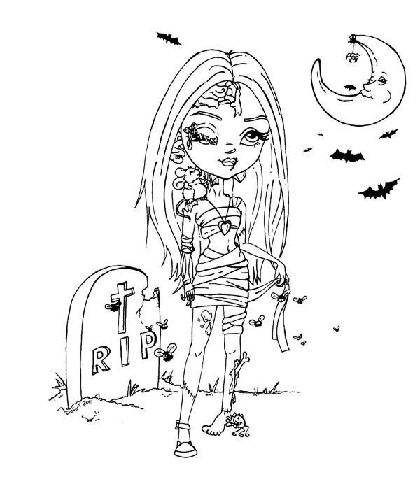 600x682 Beautiful Girl Zombie Coloring Page Wicked Cool Holiday Coloring