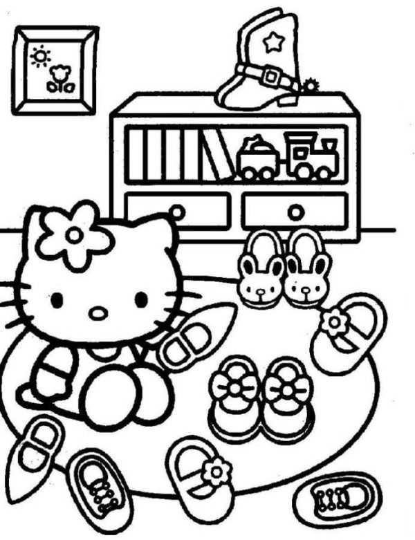 600x781 Hello Kitty Cleaning Shoes Coloring Pages