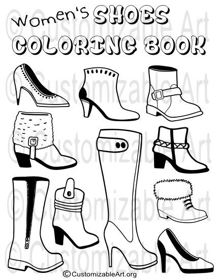 425x550 Printable Coloring Book Pdf Womens Girls Shoes Boots Colouring