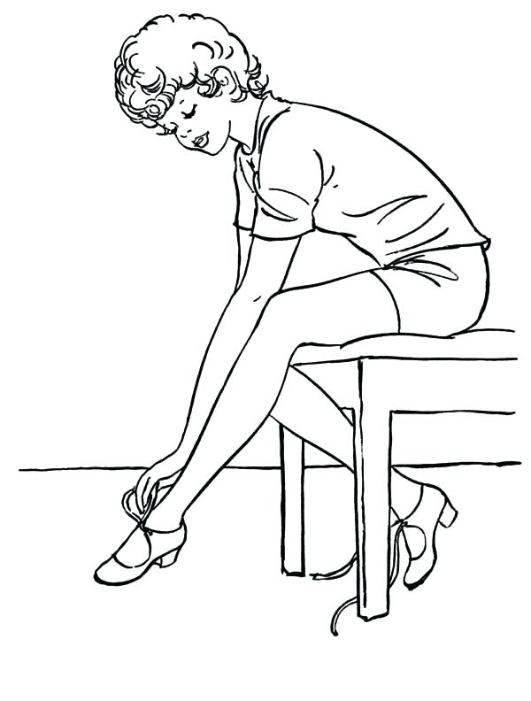 600x792 Shoes Coloring Pages Ballet Girl Ballerina Girl Put On Ballet