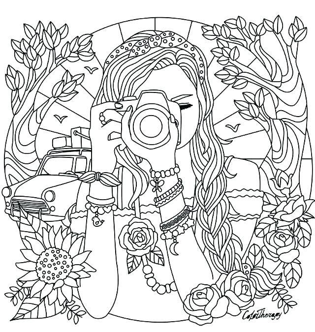 640x675 Coloring Pages Of Girl Camera Coloring Page Girl With A Camera
