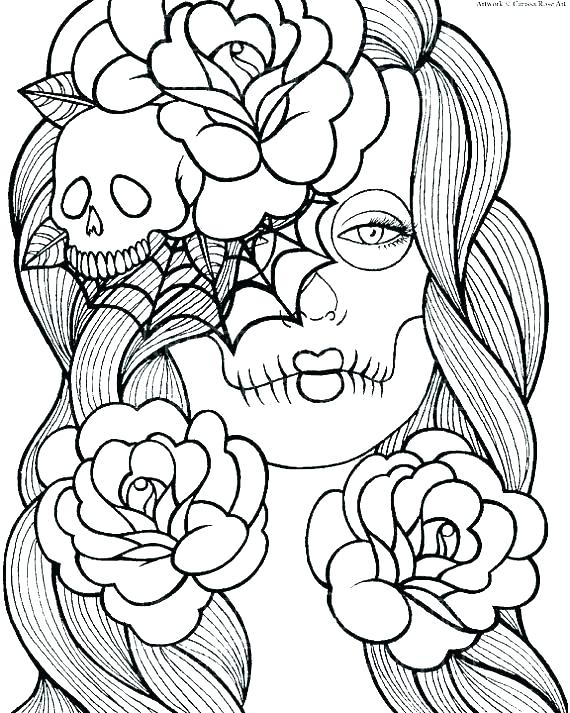 Girly Skull Coloring Pages At Getdrawings Com Free For