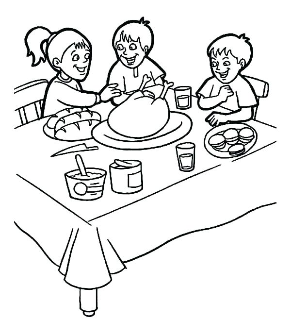 600x692 Food Coloring For Kids Breakfast Coloring Page Breakfast Three