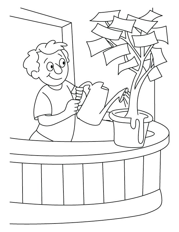 612x792 Money Coloring Pages A Boy Giving Water In The Money Plant