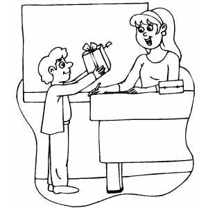 300x300 Boy Giving Teacher Gift Coloring Page