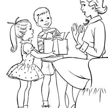 350x350 Children On Mother's Day Gift Giving Coloring Page For Kids