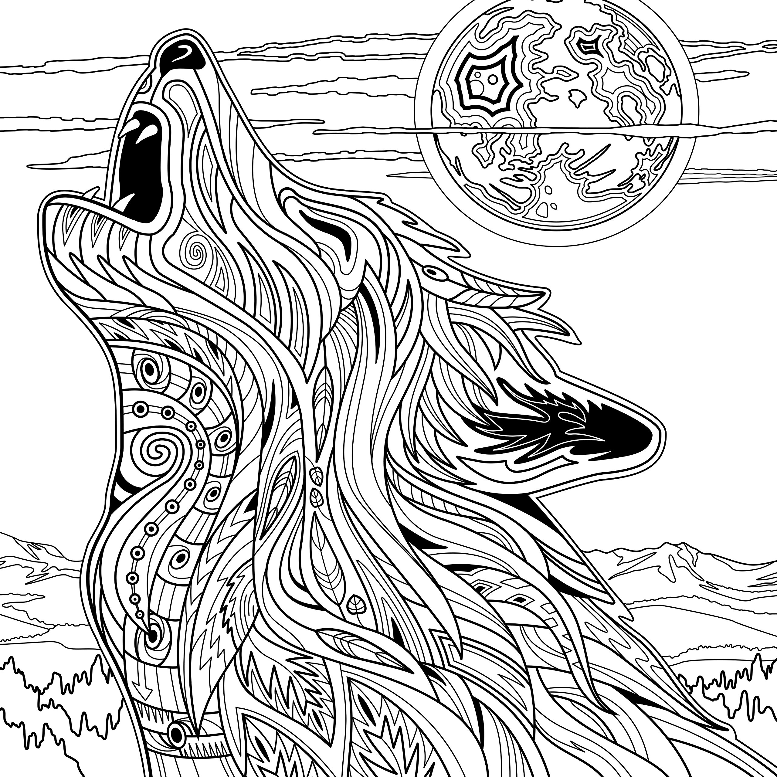 2560x2560 Yellowstone National Park, Adult Coloring Book Dave Ember, Don