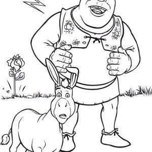 300x300 Shrek, Shrek And Donkey Are Amazed Coloring Page Shrek And Donkey