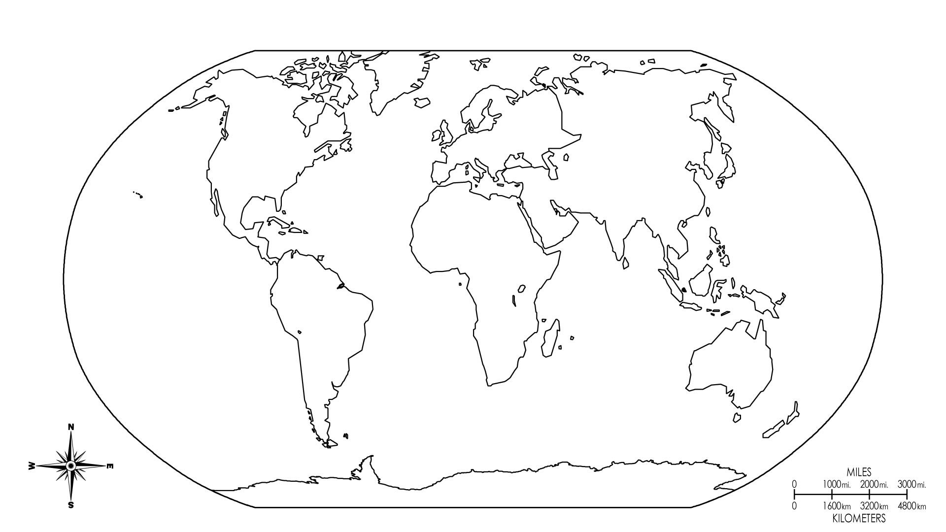 1920x1080 World Map Coloring Page
