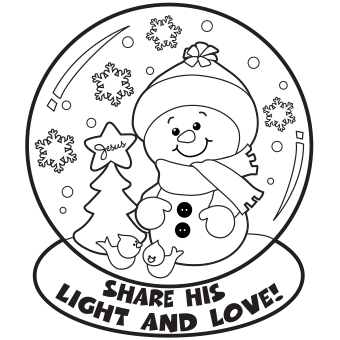 340x340 Snow Globe Coloring Page