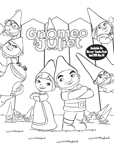 385x487 Gnomeo And Juliet Activity And Coloring Sheets Birthday Ideas