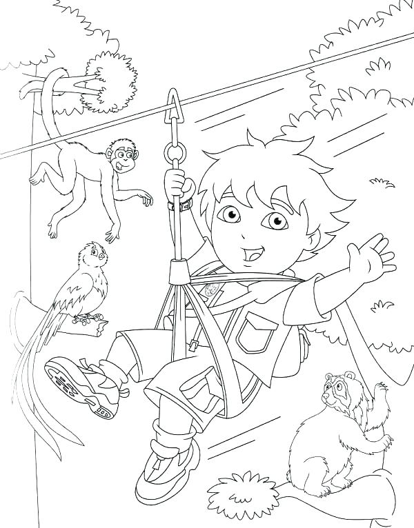 600x766 Go Diego Go Pictures To Color Go Coloring Pages Swings