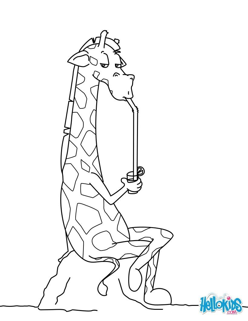 820x1060 Go Green And Color Online This Giraffe Drinking A Refreshment