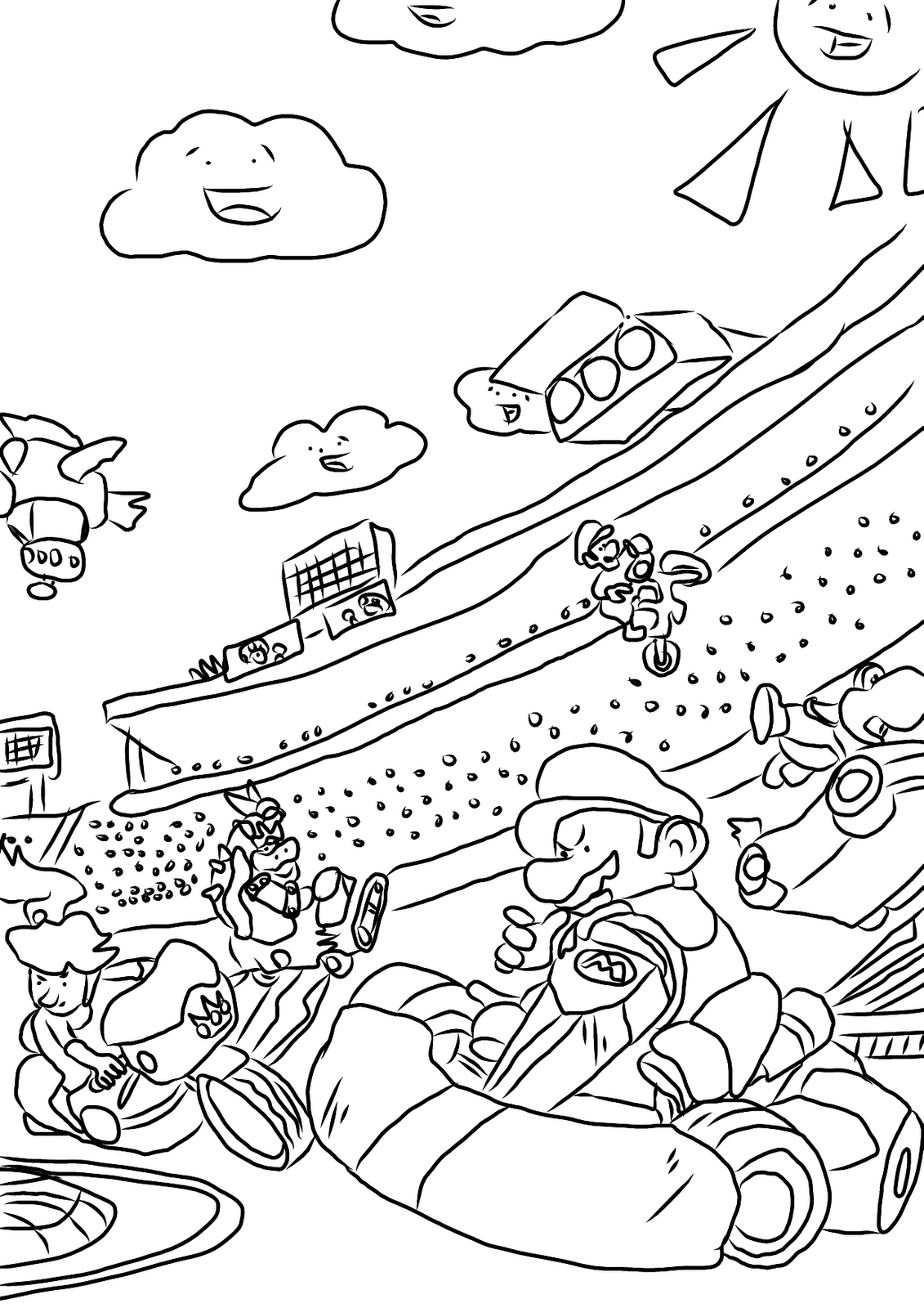 1131x1600 Go Kart Coloring Pages Free Coloring For Kids