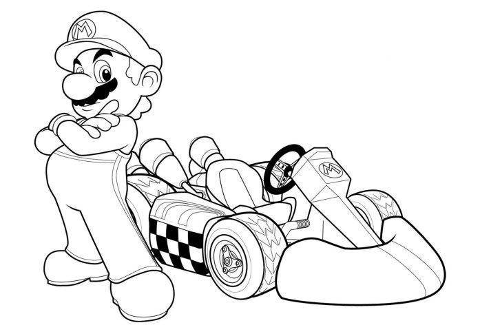 697x472 Mario Kart Coloring Pages