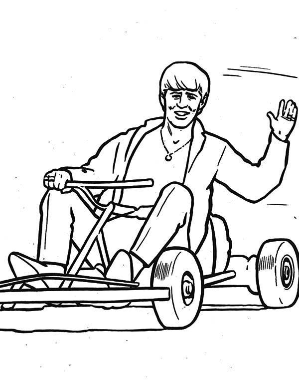600x765 The Beatles George Gokarting Coloring Pages Batch Coloring