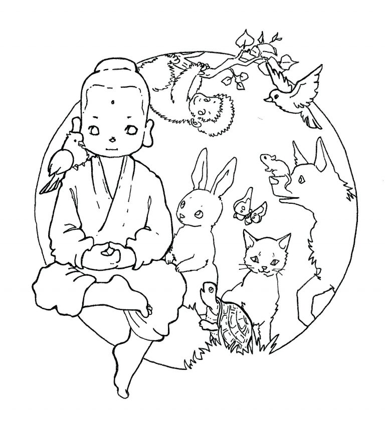 768x845 Coloring Page God Created Animals Best Of Copy Buddha Pages