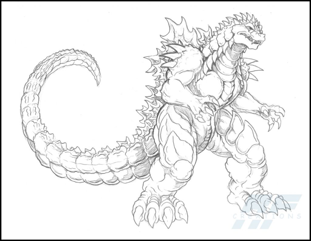 1024x793 Godzilla Coloring Pages A Detailed Sketch Of Almighty Page Fantasy