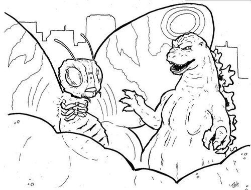 500x380 Godzilla And Mothra Coloring Page Godzilla Day!!!