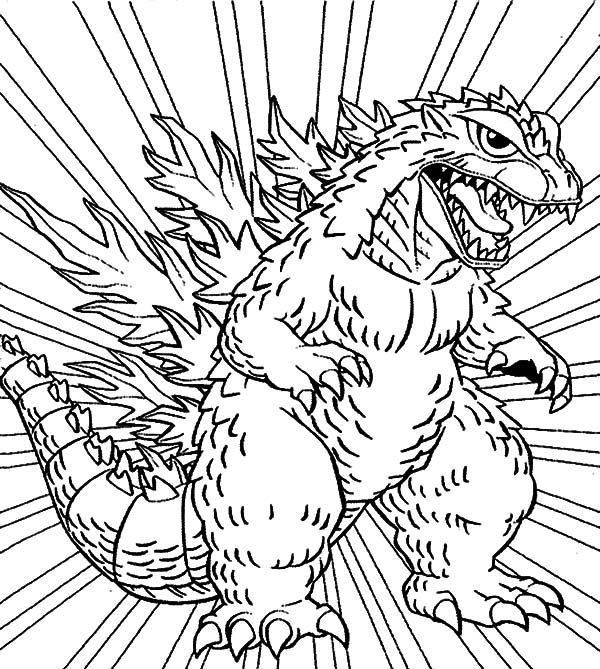 600x669 Godzilla, Godzilla Coloring Pages For Kids Lineart Godzilla