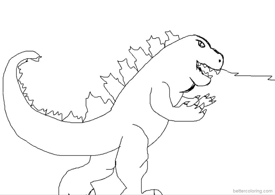 1100x780 Godzilla Coloring Pages Simple Drawing