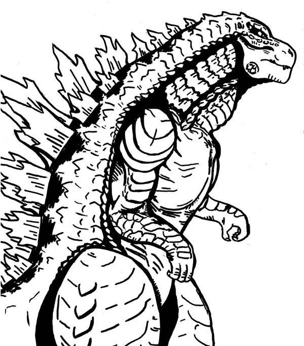 600x681 Sea Monster Godzilla Coloring Pages Sea Monster Godzilla Coloring