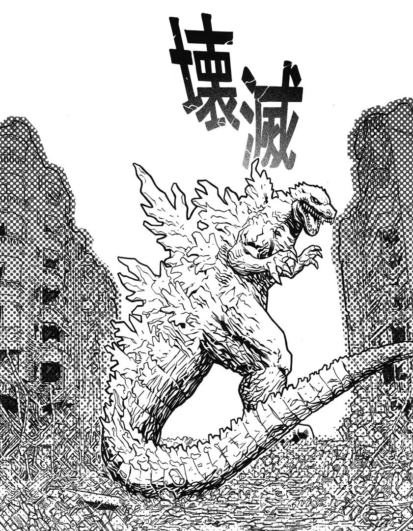841x1080 Godzilla Coloring Page Free Printable Pages To Download Adult
